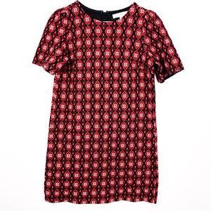 LOFT Red White Black Pattern Knit Dress